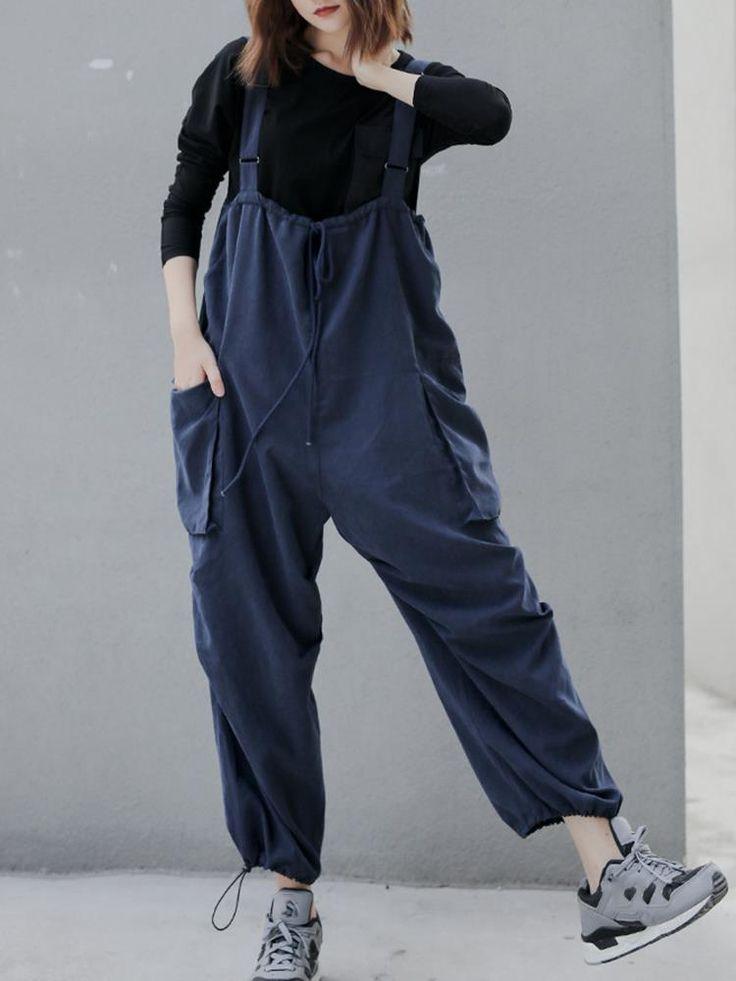 Adjustable Spaghetti Strap Side Big Pockets Jumpsuit   – Products