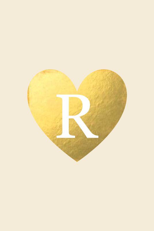 R Initial Monogram Gold Heart Phone Wallpaper