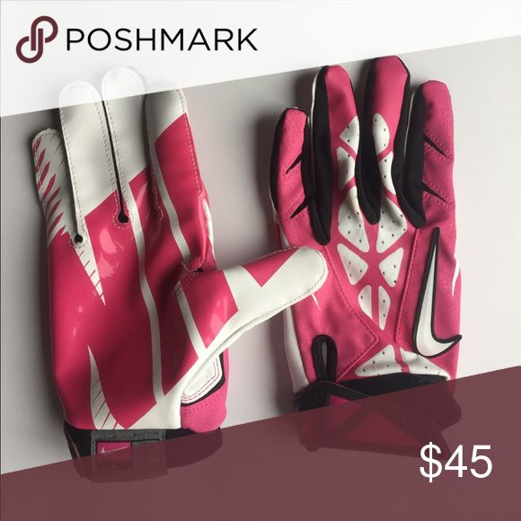Nike Pink football gloves size L These are Nike size L Pink football gloves. I wore them once and maybe caught the ball twice. They are men's. Please ask any questions. Nike Accessories Gloves