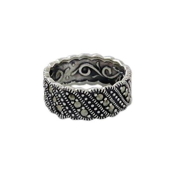 NOVICA Vintage Style Marcasite and Silver Band Ring ($40) ❤ liked on Polyvore featuring jewelry, rings, marcasite, toplevelcatrings, marcasite jewellery, sterling silver band rings, marcasite jewelry, marcasite rings and novica rings