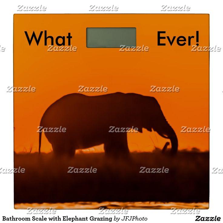 Bathroom Scale with Elephant Grazing