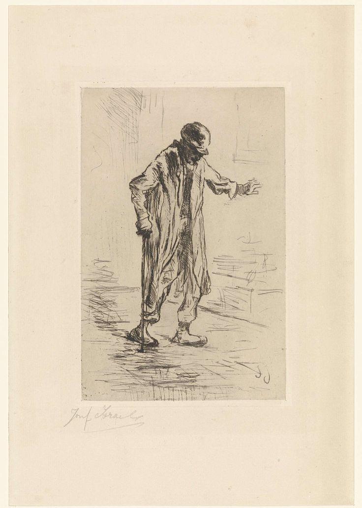 Jozef Israëls | Oude man, Jozef Israëls, 1835 - 1911 | Oude man met lange jas en hoed, lopend op straat met wandelstok.