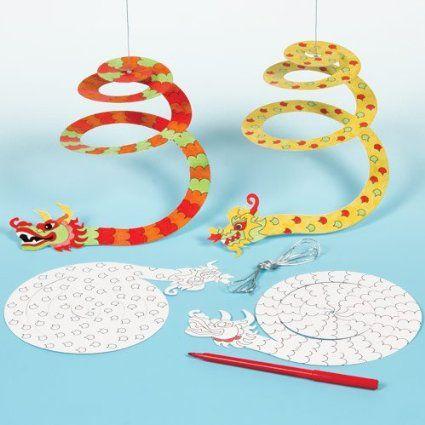 Lot de 10 Dragons en forme de Spirale à colorier - Idéal comme décoration du nouvel an Chinois