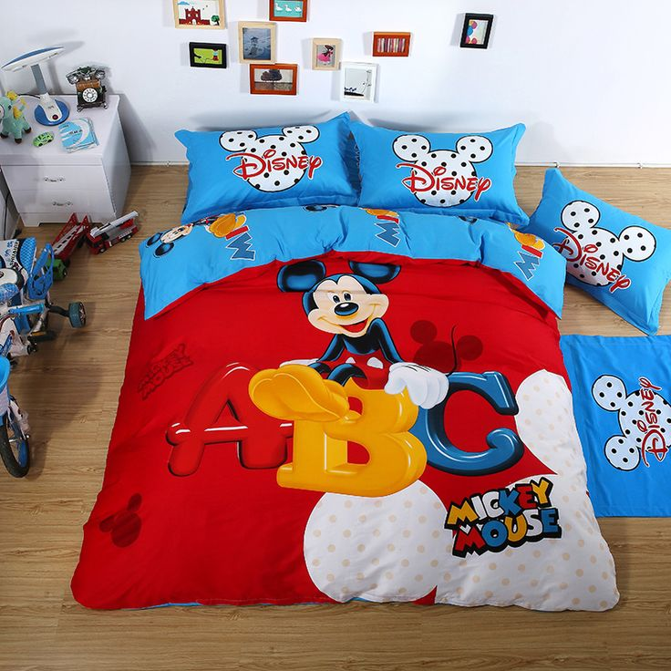 Mickey Mouse Duvet Set Luxury Bedding Sets Red Mickey Mouse Bedding Twin Full Queeen King Size Wholesale
