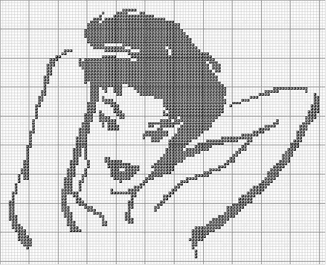 "Free ""Vixen"" counted cross stitch pattern."