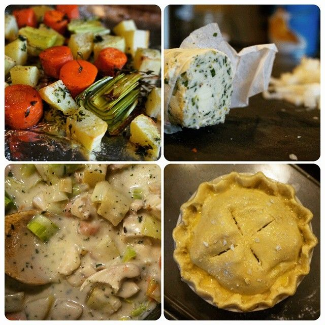 """""""A mini #ChickenPotPie in the works for #PiDay! I'm using roasted chicken breast, roasted veggies and a nice stock I made from the bones earlier that…"""""""