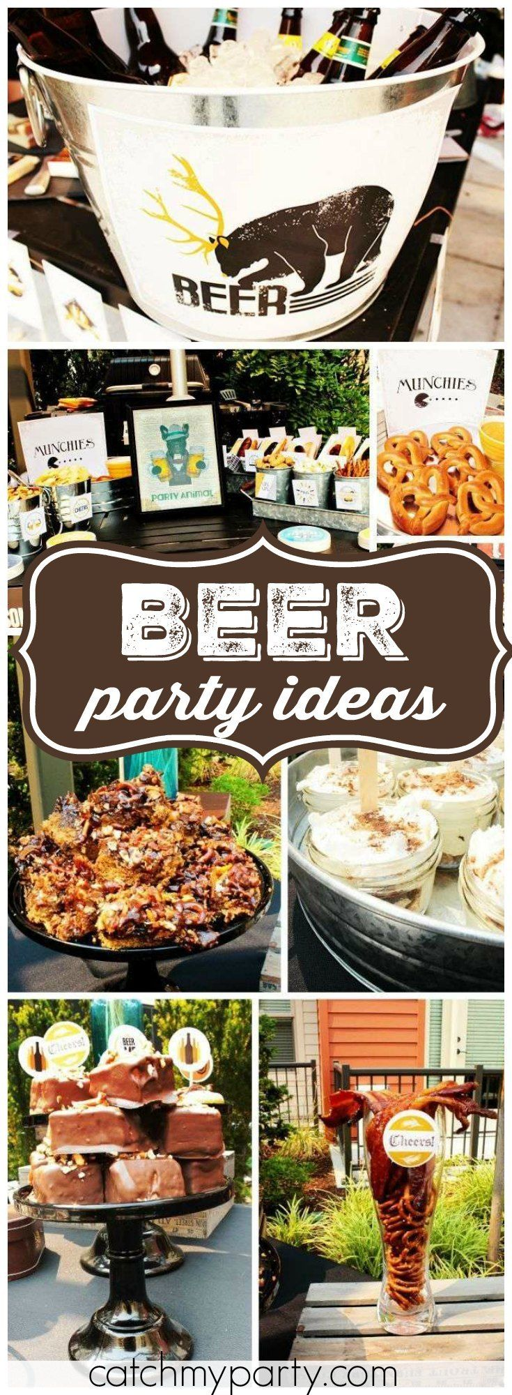 This beer themed 30th birthday has lots of manly details! See more party ideas at Catchmyparty.com!