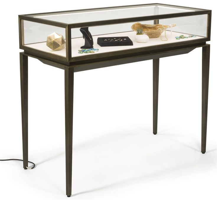 Brushed Steel Jewelry Display Case W/ Rear Slide Open Drawer, LED Lights    Bronze | Jewellery Display, Display Case And Drawers