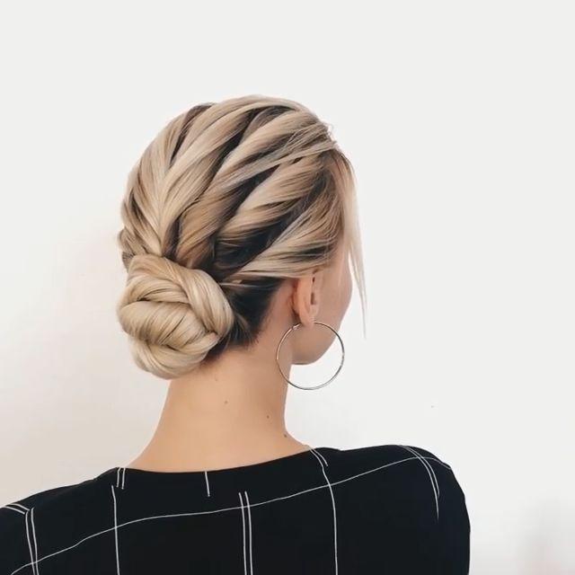 Elegant einfach Hochsteckfrisuren DIY für kurze Haare @sasha__esenina über Instagram