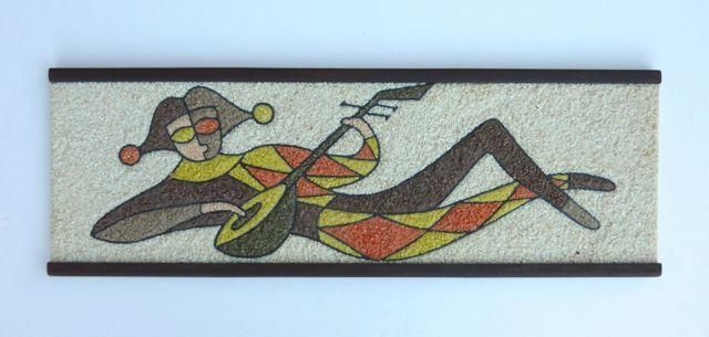Vintage Mid Century Jester Harlequin Mosaic Pebble Gravel Wall Art Panel