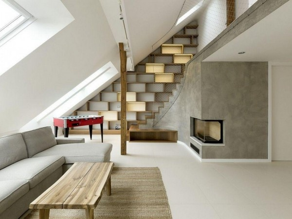 Mansarda in stil minimalist: Round Loft, Attic Spaces, Design Interiors, Interiors Design, Czech Republic, Memorial Tables, A1 Architects, Design Home, Loft Design