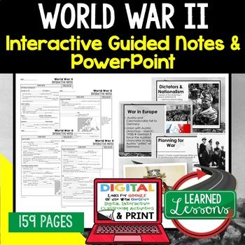 World War II, WWIIl Notes & PowerPoints, US History, Print