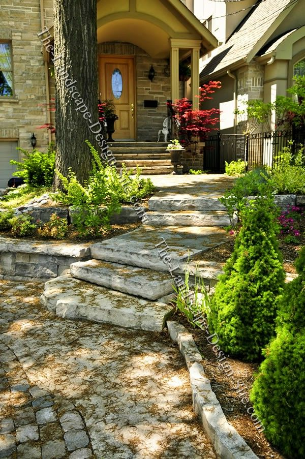 Front entry just things pinterest for Courtyard stone landscape