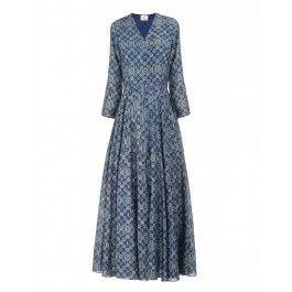 Block Printed Indigo Blue Midi Dress