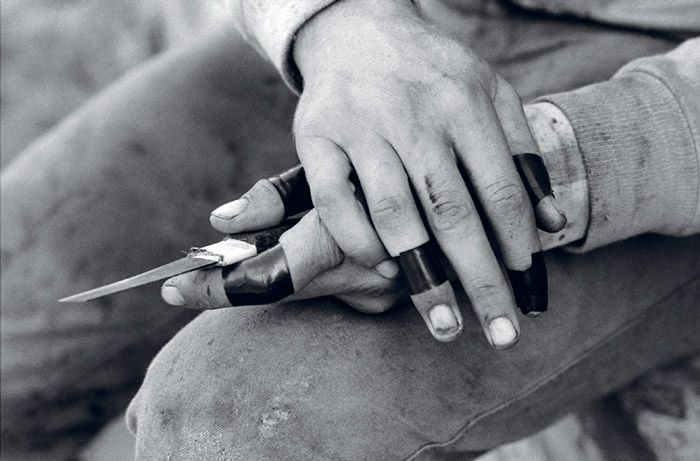 Ricky Maynard Hands of a birder, David Maluga from the series The Moonbird People 1985–88 black and white gelatin silver print 35 x 45 cm courtesy the artist and Australian Institute of Aboriginal and Torres Strait Islander Studies, Canberra