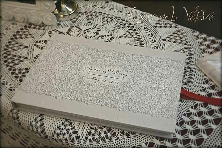 Vintage lace guestbook romantic elegant - Wedding stationery