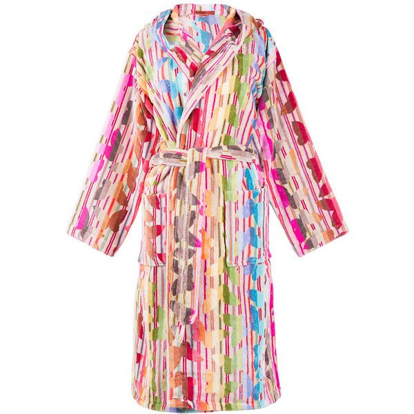 Missoni Home Josephine Hooded Bathrobe (760 BRL) ❤ liked on Polyvore featuring intimates, robes, hooded bath robe, bath robes, graduation robes, hooded robe and hooded bathrobe
