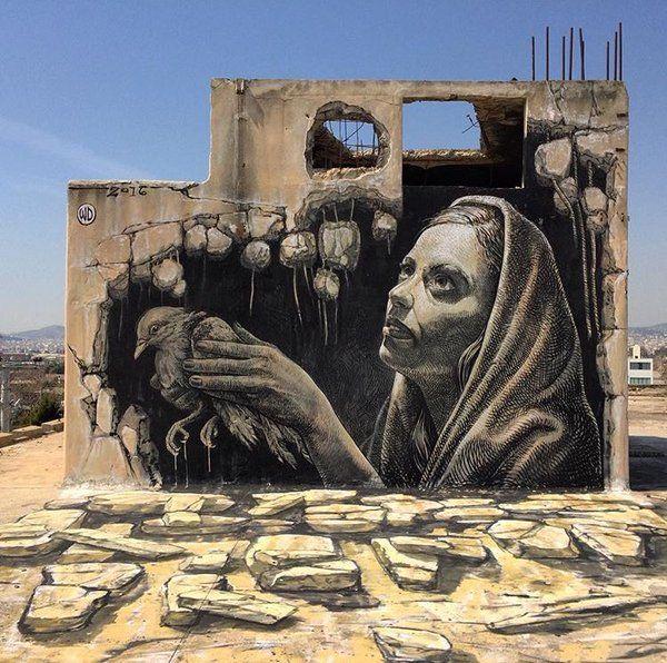 Atene : nuovo muro dello street artist greco WD Drawing.