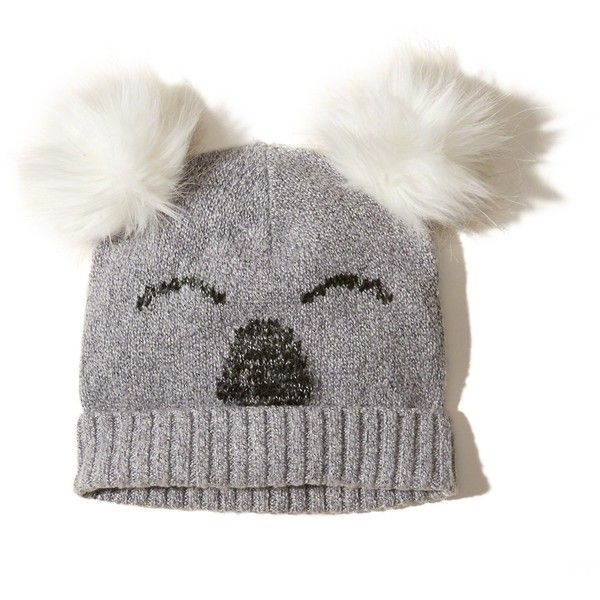 Hollister Pom Beanie ($20) ❤ liked on Polyvore featuring accessories, hats, grey, beanie cap, grey beanie, beanie hat, gray beanie hat and pom pom beanie