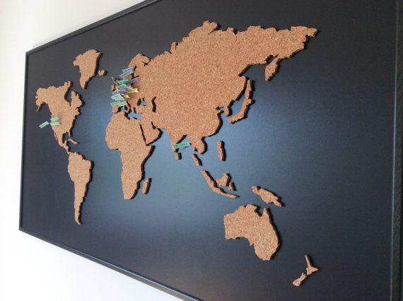 Cork Board World Map negro por OneFancyChimney en Etsy