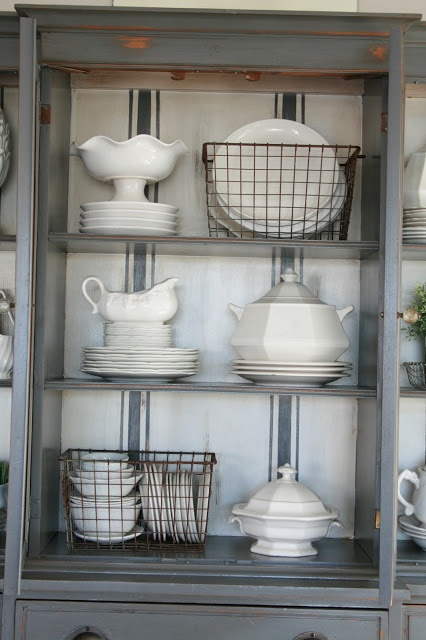 Grand Design Grain Sack Stripe Inspired Hutch Love The Dishes In Wire Baskets