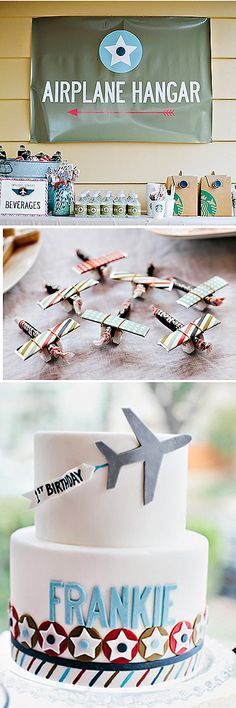super cute airplane themed birthday party - loving the airplane hanger sign! Maybe make something similar?