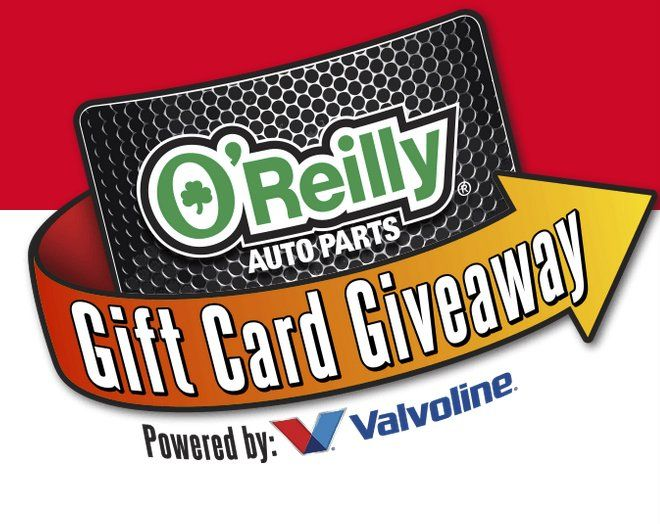 28 will win a $100 O'Reilly Auto Parts electronic gift card or other thousands of gift card prizes. $142,800.00 in prizes!    Each entrant may enter two codes per day to receive a total of two entries. Go to your local O'Reilly Auto Parts store and...