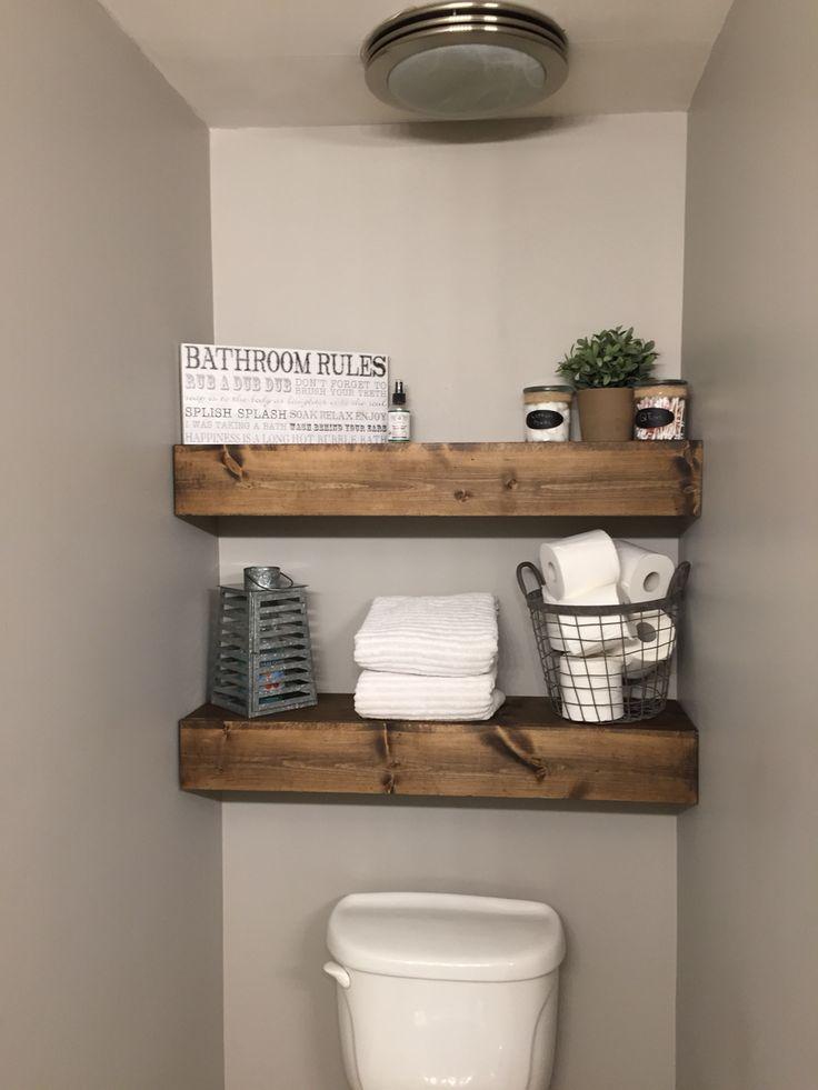 Chunky Wood Shelves In Our Bathroom, Wood Shelves Bathroom