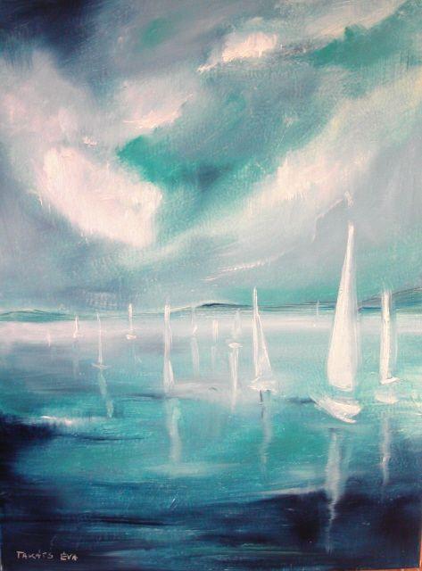 Balaton/lake , Oil on Canvas By Éva Takáts