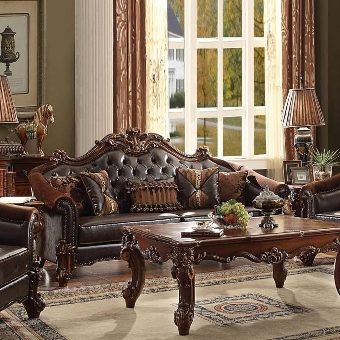 Dark Brown Pu Cherry Sofa Set 3pcs Victorian Traditional Vendome Ii 53130 Acme Vendome Ii 53130 Set 3 Mediterranean Home Decor Living Room Sets Acme Furniture