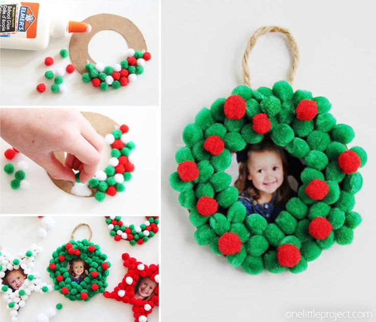 The Pom Pom Ornament Craft That Never Ends: Pom Pom Christmas Photo Ornaments