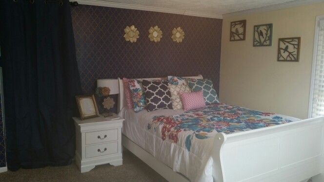 Wall Stencil Patterns Hobby Lobby : Bedroom wall navy blue with gold stencil bought at