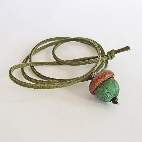 Acorn ожерелье зеленый шелк желудь ювелирные изделия Boho аксессуары от bstudio