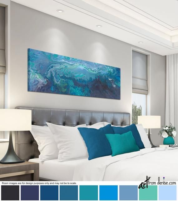 Blue gray and teal wall art – canvas panoramic, Wide horizontal abstract wall decor above bed, over