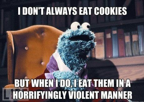 Now that's funny!!!Sesame Street, Cookie Monster, Cookies Monsters, Laugh, Funny Stuff, 99 Cookies, Humor, Things, Funnystuff