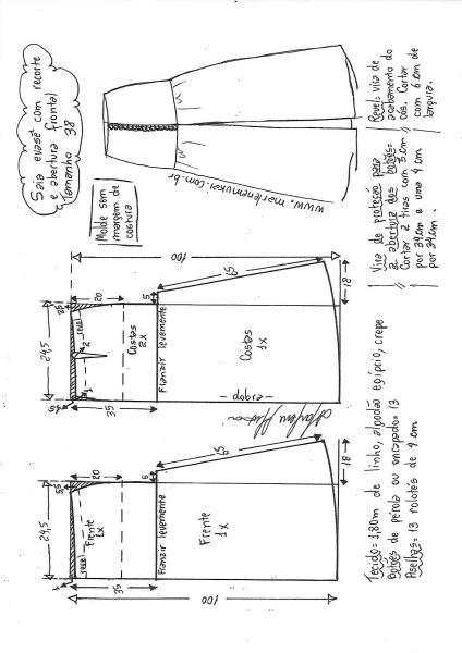 e84a4d3e6 Saia longa evasê com abertura frontal | DIY - molde, corte e costura -  Marlene Mukai
