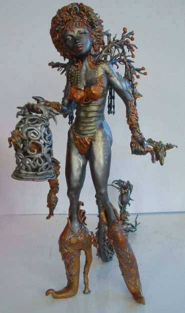 Sculpture with Paverpol:  THE DRAGON KEEPER - created with Makin's Clay air-dry polymer clay