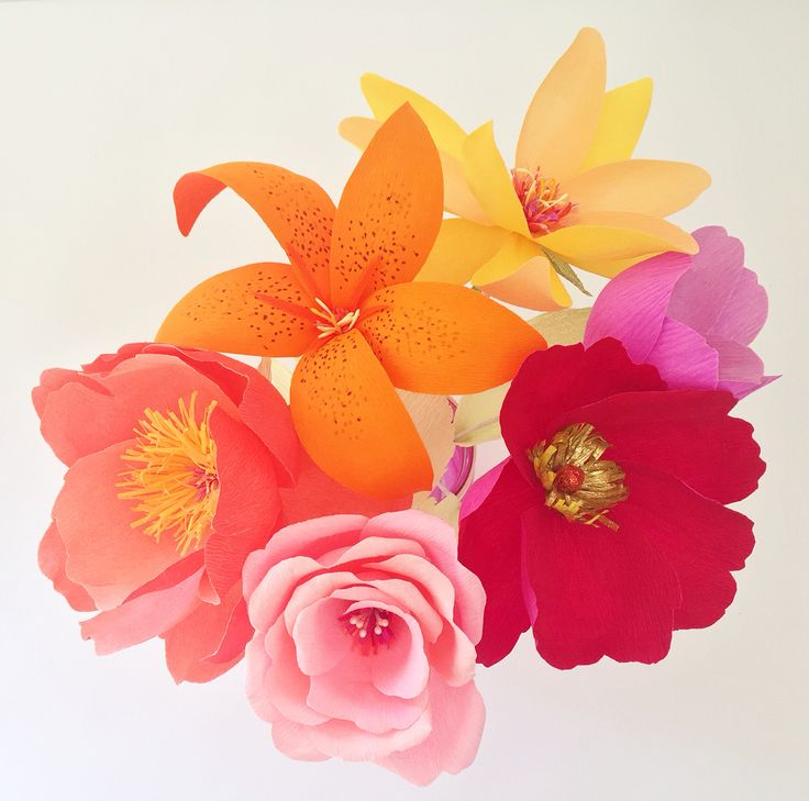 Colourful doublette crepe paper flower peony, lily, anemone, magnolia and rose bouquet