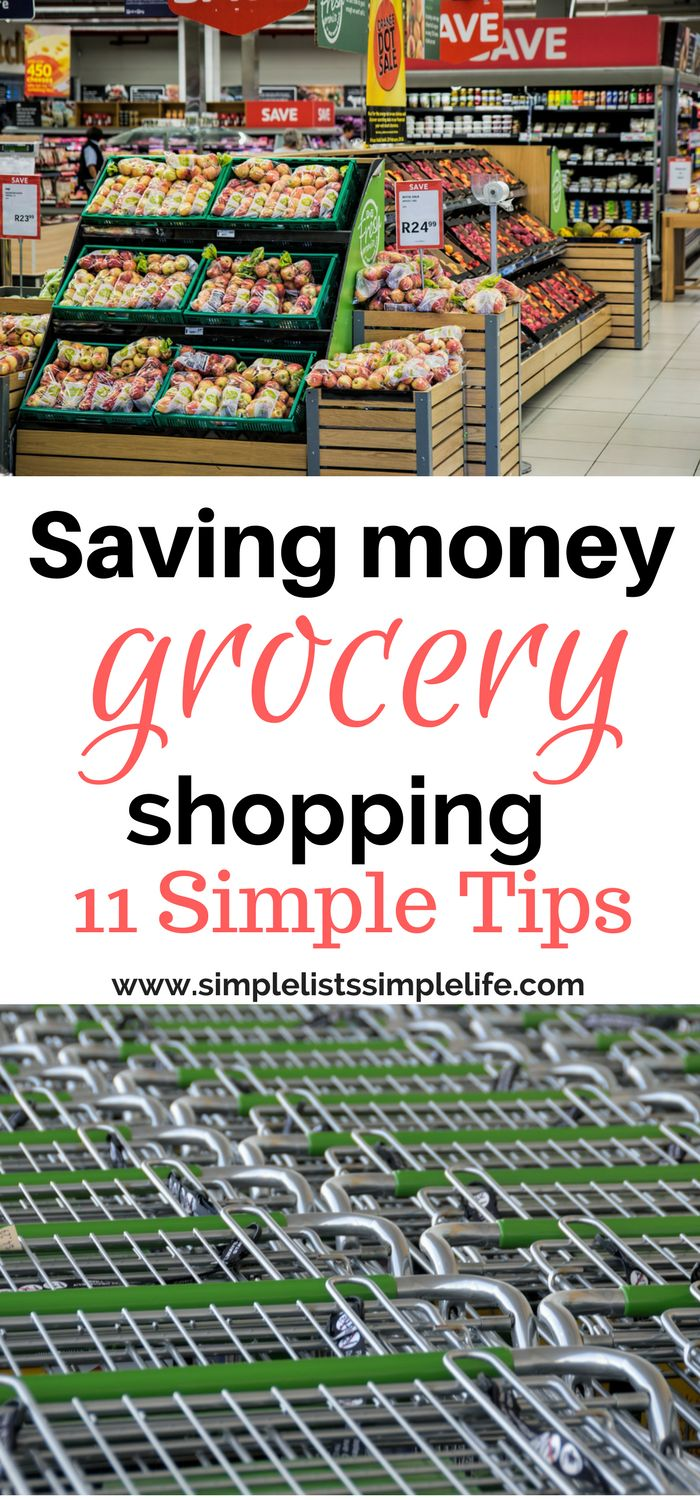 Save money on groceries with these 11 tips! These are all SIMPLE grocery money saving tips. Make it easy to budget for groceries!