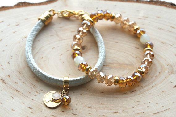 Bedel armband, Setje armbanden, Zomer armbanden, Cadeau voor haar, Kralen armband, Imitatieleer, Leren armband door JewelryByLis