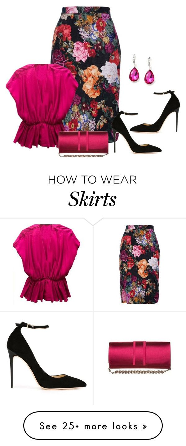 """Pencil Skirt"" by sjlew on Polyvore featuring Dolce&Gabbana and Jimmy Choo"