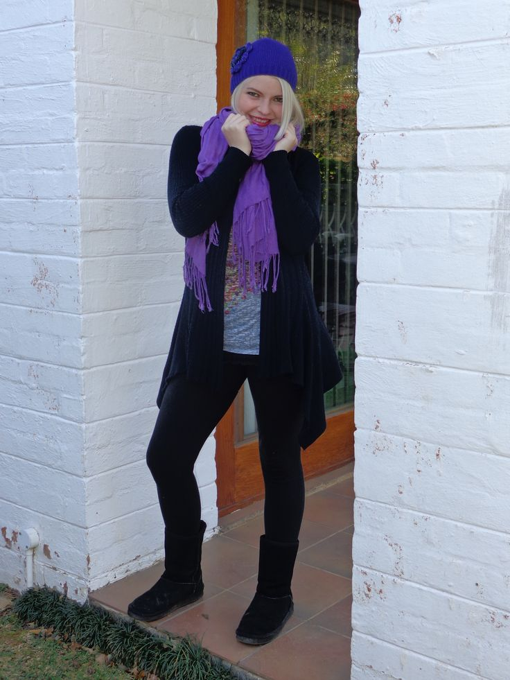 Purple scarf and beanie, UGG boots and black tights from the blog www.maintsreetfashion.co.za