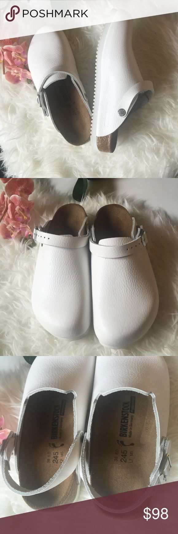 NWOB Birkenstock Philadelphia Clogs leather shoes Brand new never worn Birkenstock Philadelphia professional in white. Size 38 Euro. Narrow width. These don't come with box. Birkenstock Shoes Mules & Clogs
