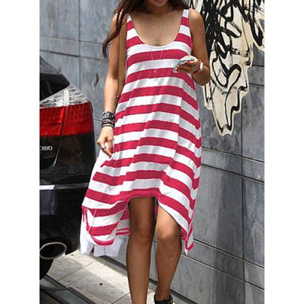 Women's Girl Casual Stripe Irregular Beach Dress Sleeveless Sundress