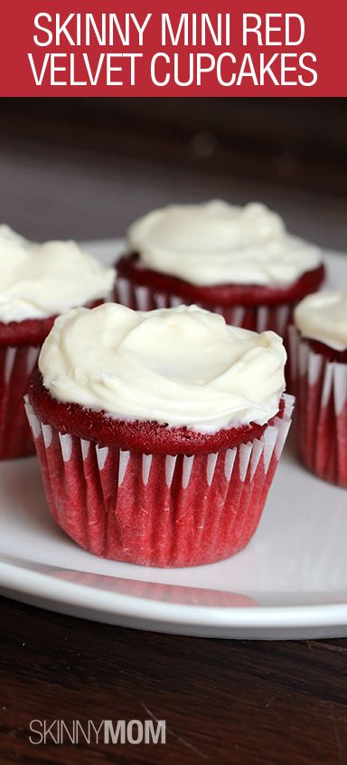 Skinny Mini Red Velvet Cupcakes are a MUST HAVE dessert! Less than 150 calories for 3 cupcakes and they are AMAZING!