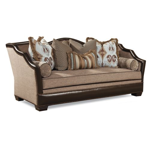 Huntington house sofa 7461 20 leather fabric combination for Leather sofa and loveseat combo