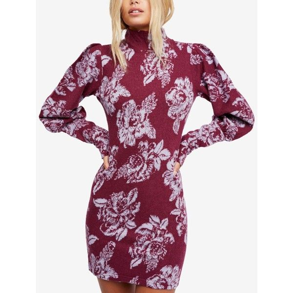 Free People Farrah Mock-Neck Sweater Dress ($148) ❤ liked on Polyvore featuring dresses, plum, bodycon mini dress, mini sweater dress, purple bodycon dress, purple dress and body con dress
