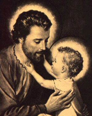 St. Joseph and the child Jesus.  Fatherhood is not exclusively or even primarily biological;  it is a vocation.  All men are called to be fathers, just as all women are called to be mothers; to fit our lives, work,  and careers, if we have them, into that calling.