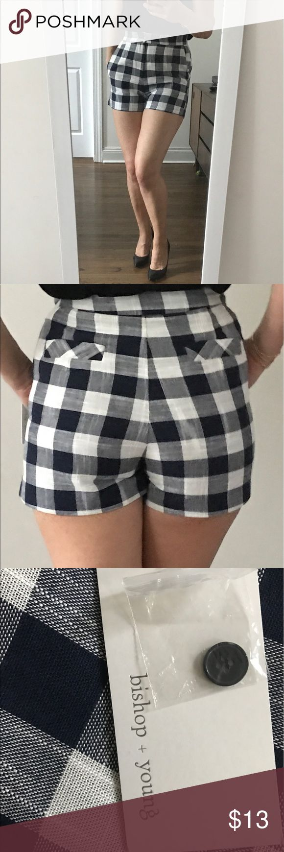 Bishop and Young Blue and White Shorts Size M Moving out sale - everything must go!!!! Beautiful pair of cotton and linen checkered shorts with side pockets. Super cute for the summer and very flattering! The high waist gives it that retro look and they look great in the back as well. Never worn with tag and bought them at Bloomingdales NYC. Bishop + Young  Shorts