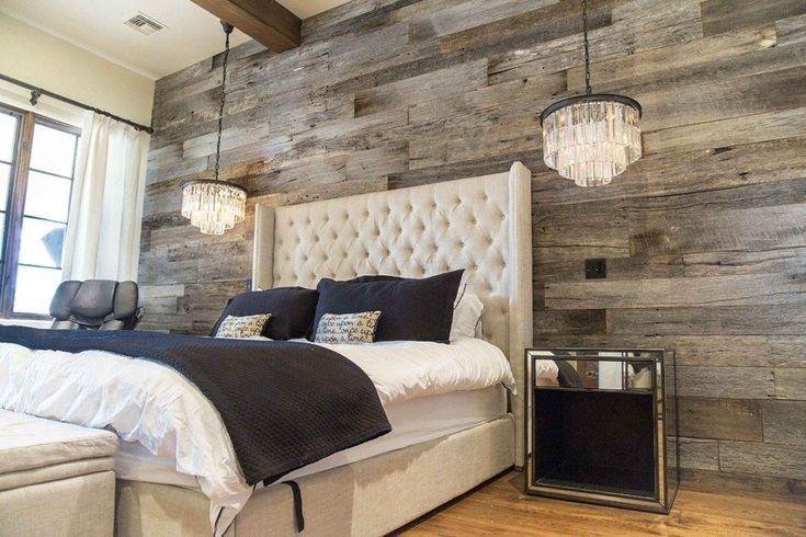 Pbw Tobacco Barn Grey Wood Wall Master Bedroom Designinterior